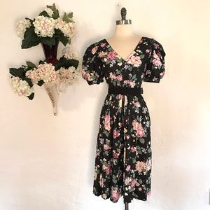 Vintage 80's Black Floral Party Dress